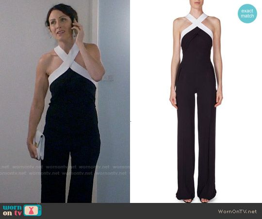 4df5f314ee64 Abby s black and white cross-neck jumpsuit on Girlfriends Guide to Divorce.  Outfit Details