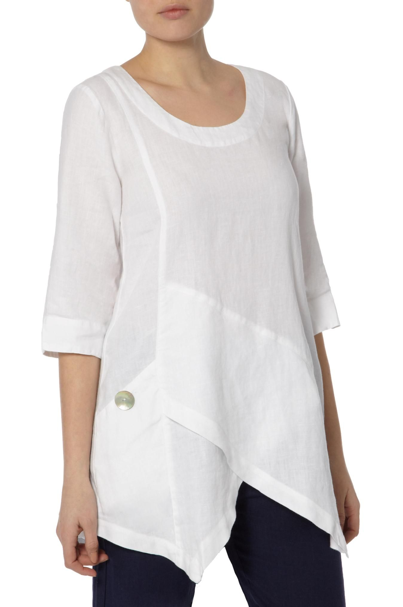 Tops ana asymmetric linen tunic at sahara take apart for Womens linen shirts blouses