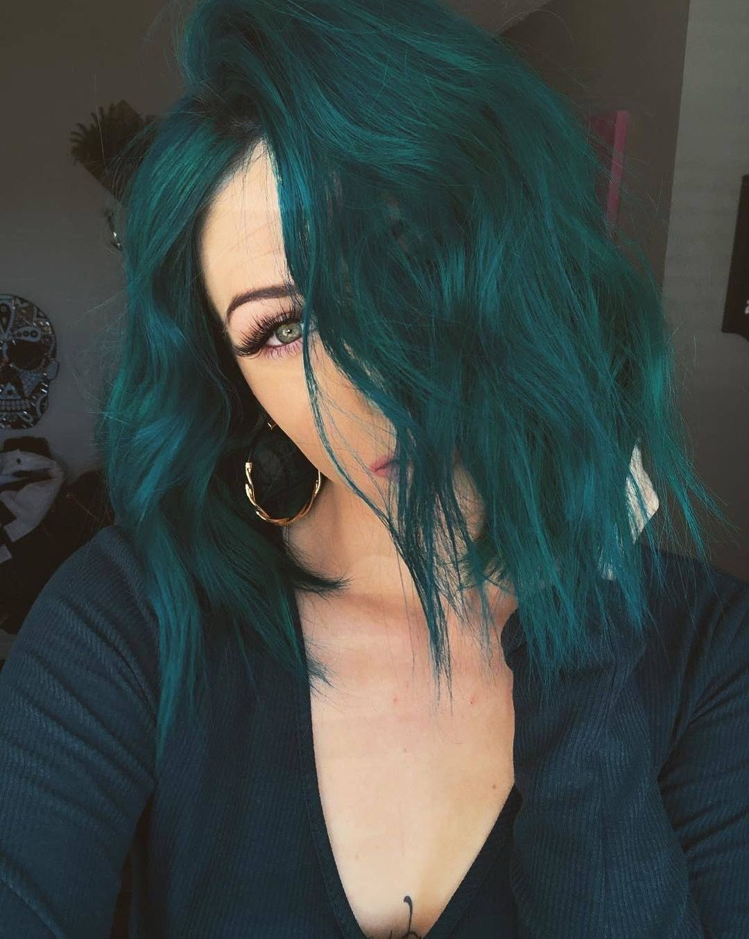 Pin By Ashley Vieno On Lovely Locks Hair Styles Dark Green Hair Green Hair