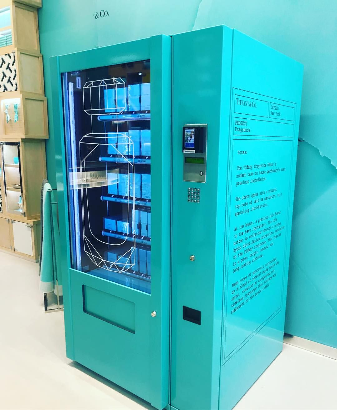 """ed58dc5d8 TIFFANY&CO., Covent Garden, London, UK, """"First ever fragrance vending  machine"""", photo by Sarah Bailey, pinned by Ton van der Veer"""
