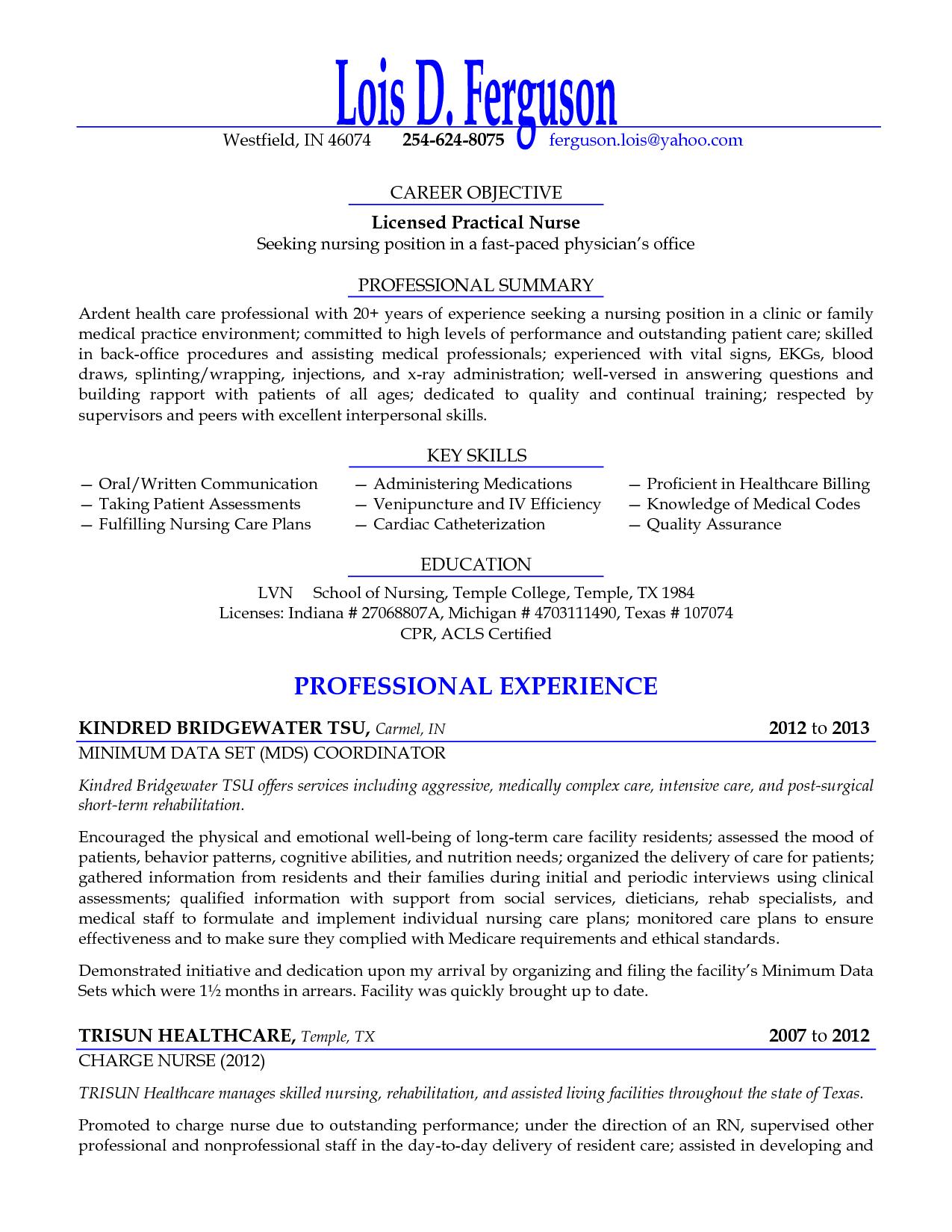 Lpn Resume Objectives Sample For Samples Licensed Practical Nurse