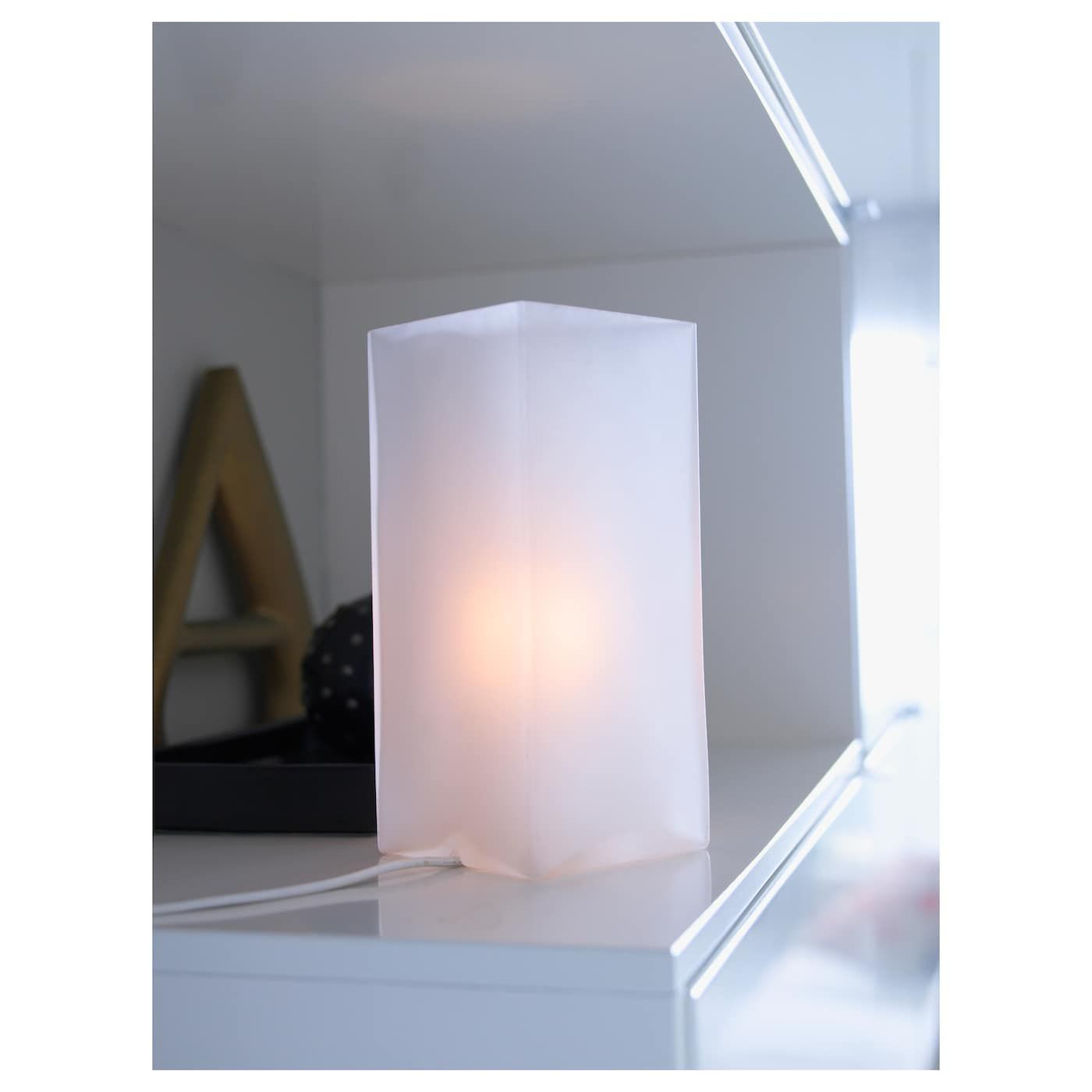 Ikea Grono Frosted Glass White Table Lamp With Led Bulb White Table Lamp Table Lamp Table