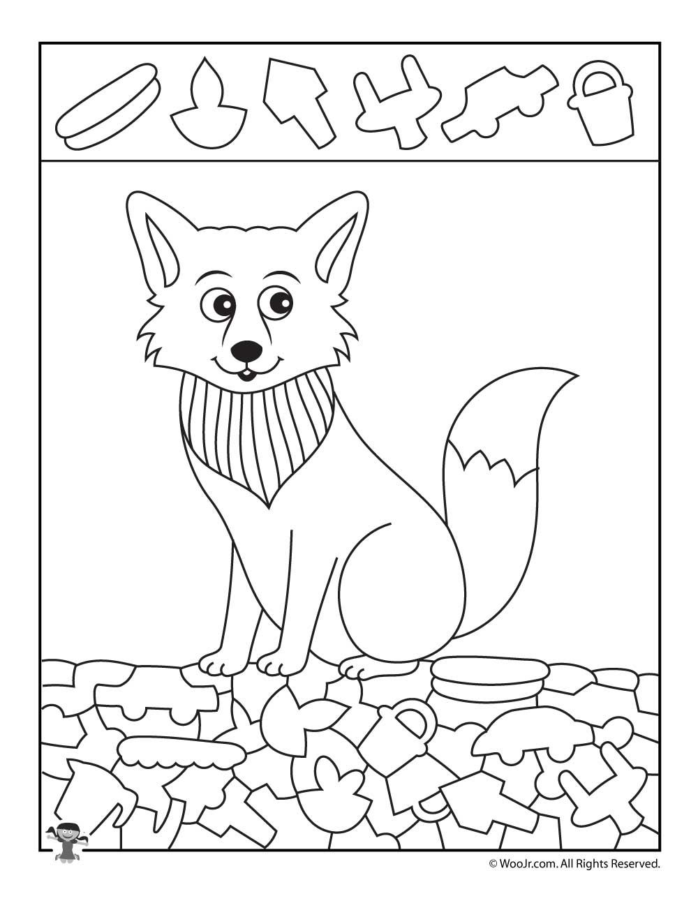Arctic Fox Hidden Picture Coloring Page | Pinterest | Arctic fox ...
