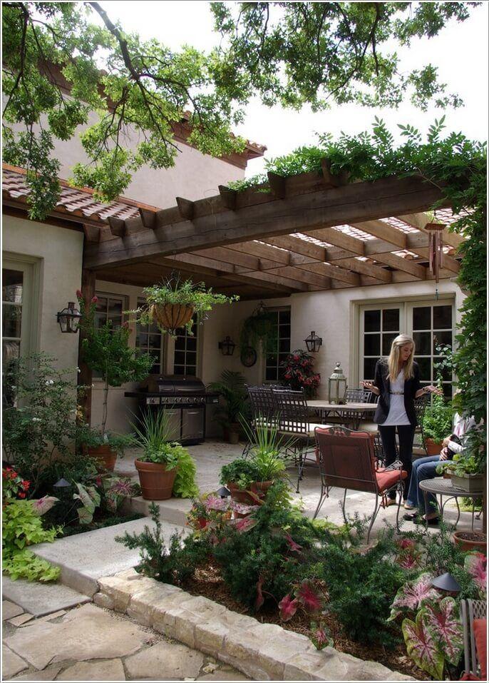 Hermoso patio, pérgola y empedrado Patios Interiores Pinterest