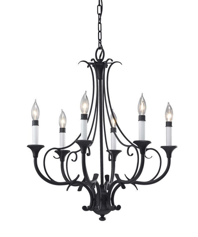 Murray Feiss F2533/6 Peyton 6 Light Wrought Iron 1 Tier Chandelier