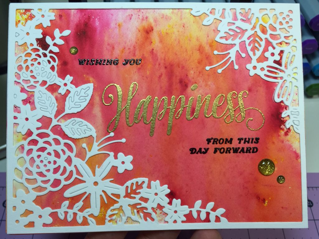 Wedding card using color burst and Papertrey ink garden gild die ...