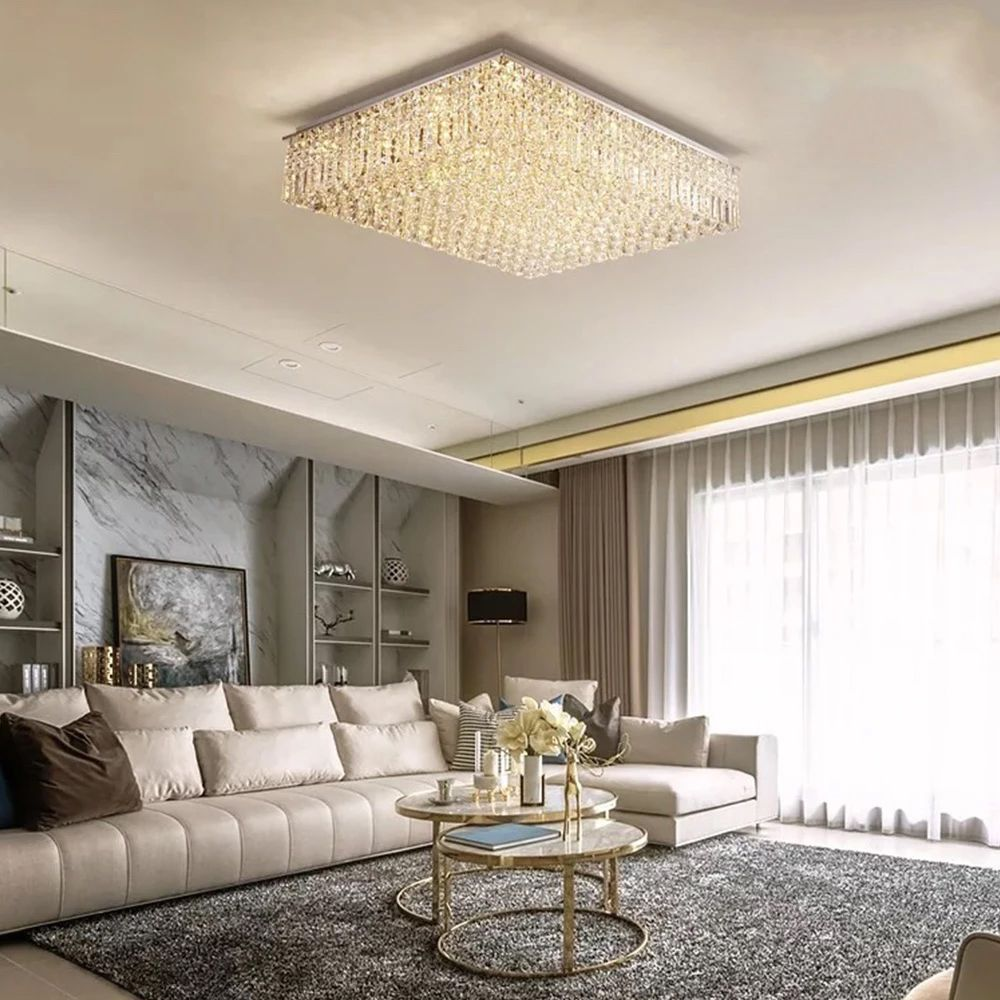 Rectangular Raindrop Crystal Chandelier Ceiling Lights Chandelier In Living Room Ceiling Lights Living Room Decor Modern #simple #living #room #ceiling #lights