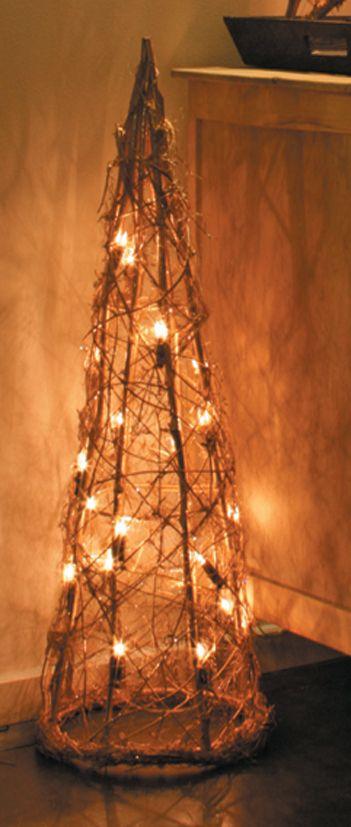 Arbol navidad ratan iluminado interior 90x30x30cm decoracion navidad decoraci n pinterest - Arbol navidad ratan ...