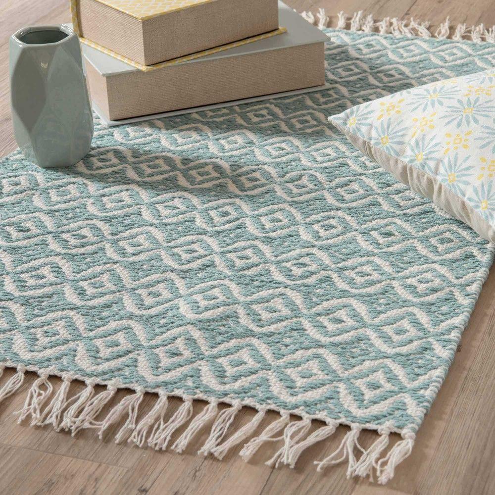 Tapis en coton bleu à motifs 60x90cm   Déco   Tapis coton, Tapis ...