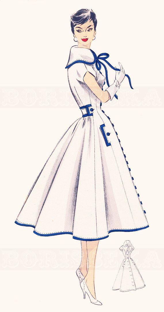 French Sewing Patterns : french, sewing, patterns, Vintage, French, Sewing, Pattern,, Borisbeka, Dress, Patterns,, Dresses,, Fashion