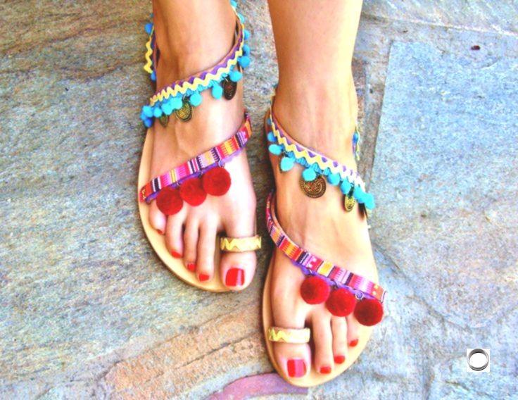 40 OFF Colorful Sandals  Pom Pom Sandals  Bohemian Strappy Sandals  Greek Le