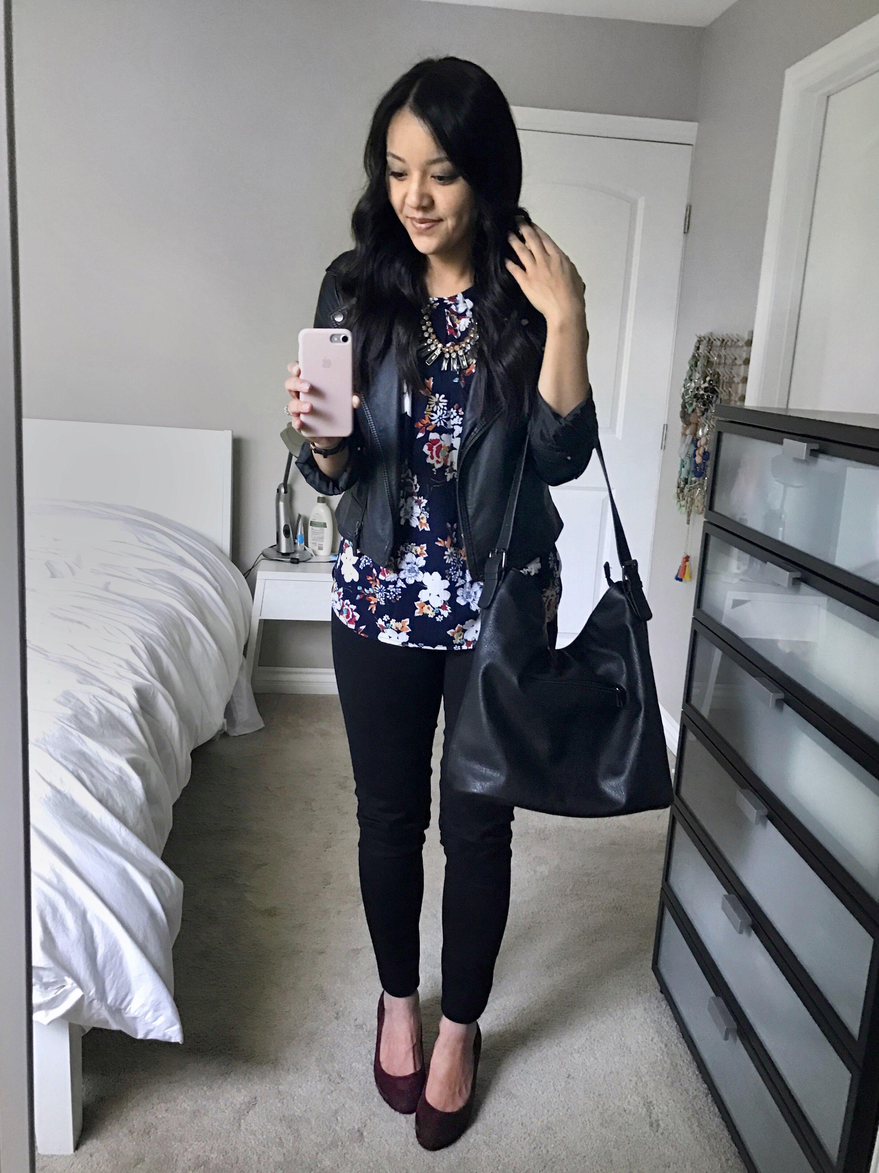 5245670bfcc Navy Floral Print Top + Black Jeans + Maroon Pumps + Black Faux Leather  Jacket