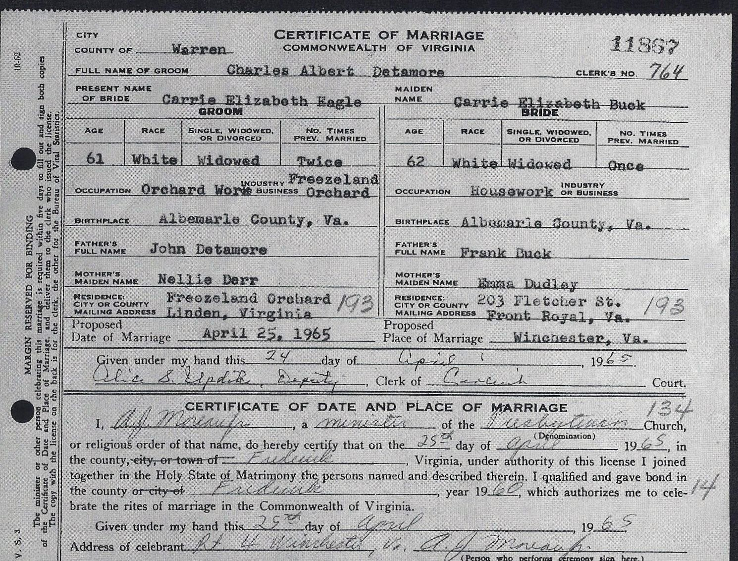 Certificate Of Marriage For Charles Albert Detamore And Carrie