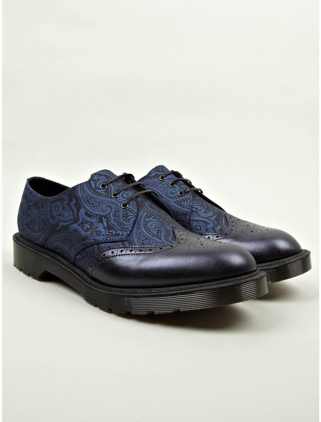 Dr Martens Men's Navy Blue MIE Dannon Paisley Silk Shoes | oki-ni