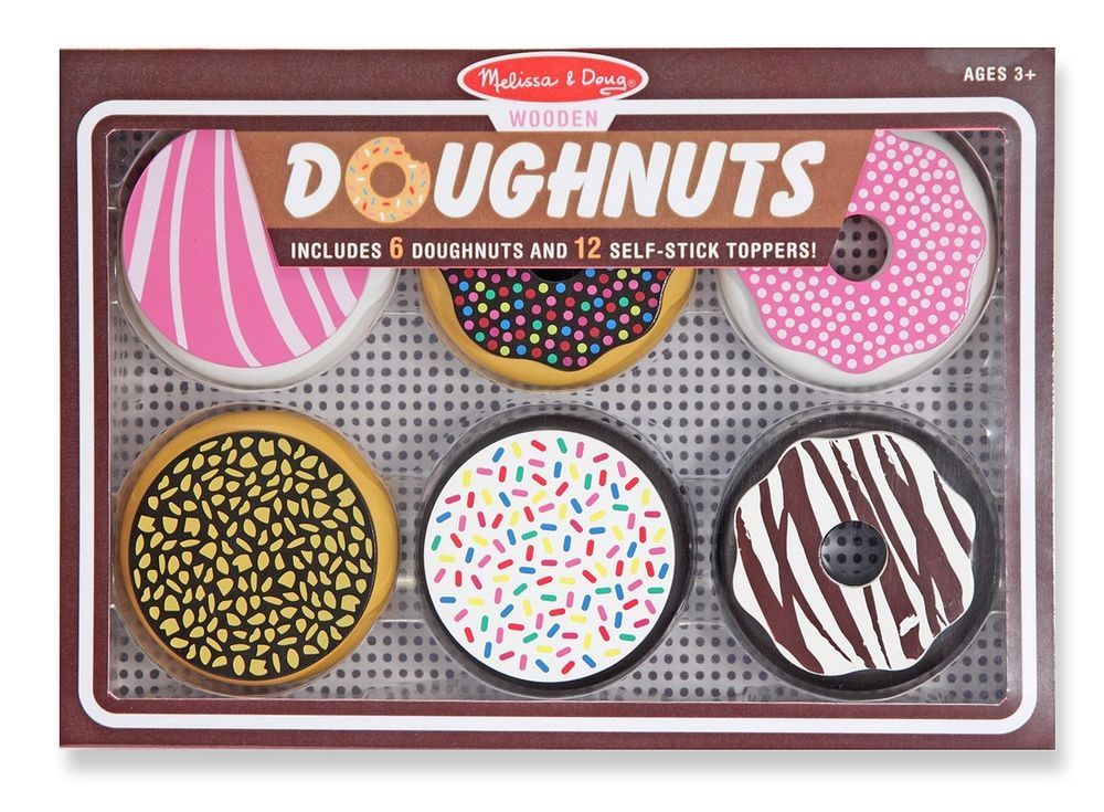 Melissa /& Doug  WOODEN DOUGHNUTS #4016 NEW 6 Donuts with 12 Frosting