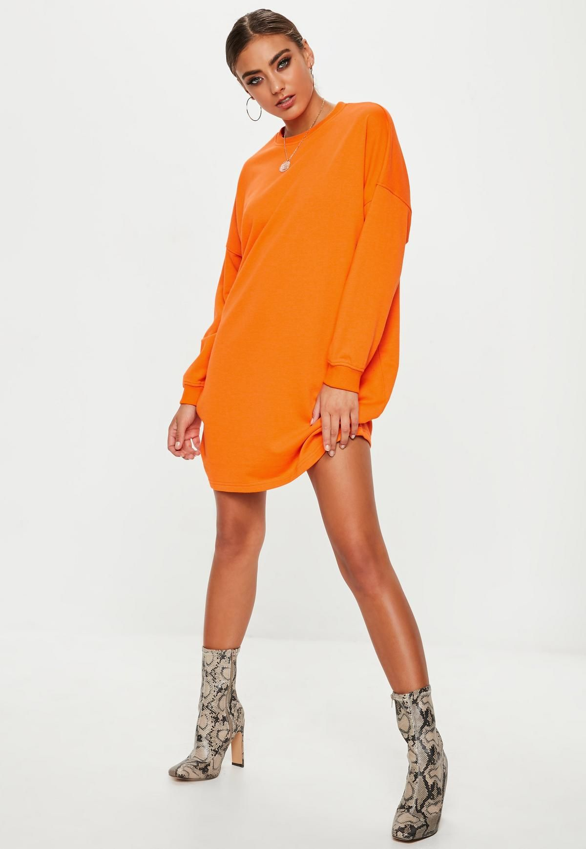 Oversized Dress Orange Sweater Crew Missguided Wardrobe Neck nqrrE8