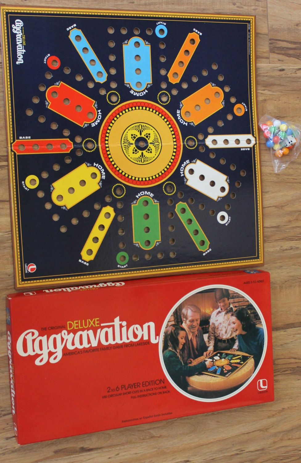 1977 Lakeside Deluxe Aggravation Board Game Marble Race