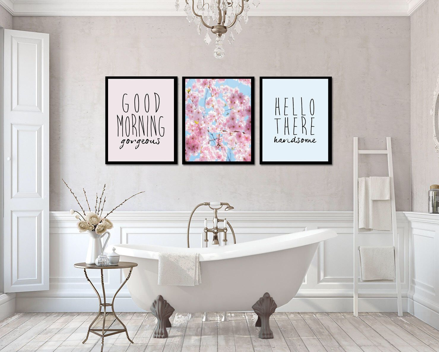 Good morning gorgeous print hello handsome wall art set of bedroom