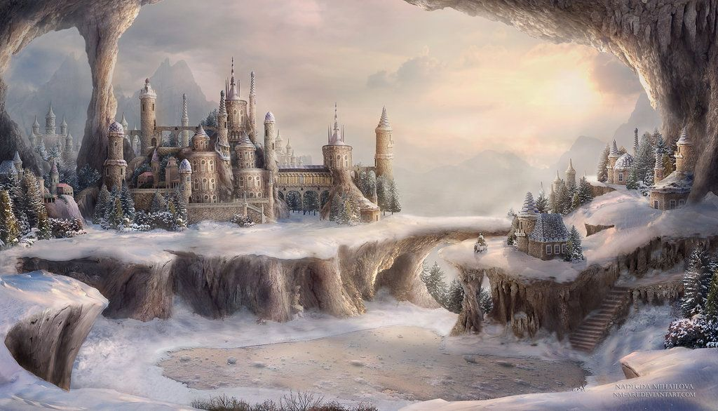 Winter In The Town Of Blue Roofs By Nm Art On Deviantart