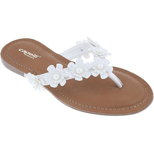 97b1016ff5d5 A pair of casual sandals by Capelli. These flip flops feature a faux  leather footbed and flower details on the thong upper with faux pearl  accents.