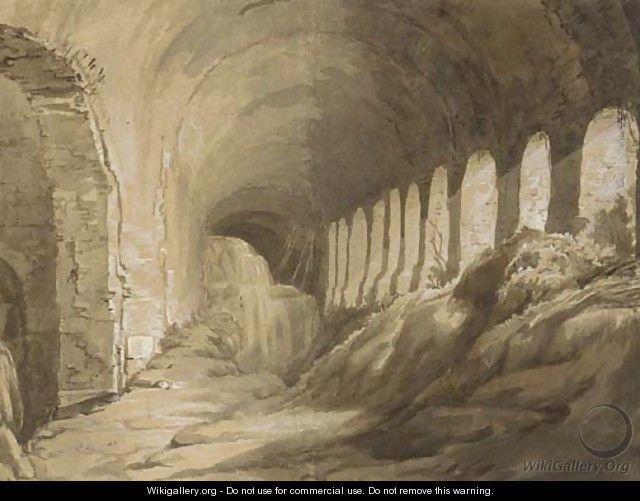 Two views of the Baths of Caracalla, Rome - Italian School