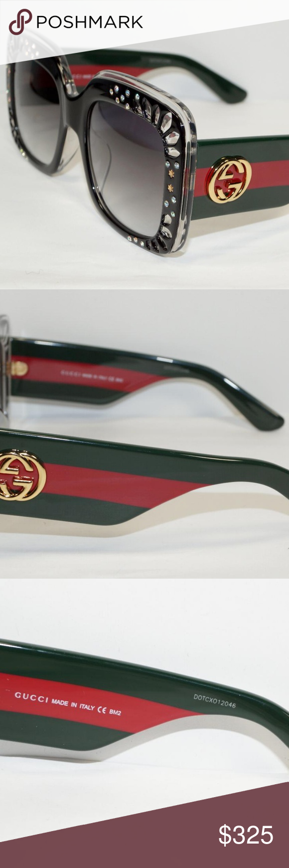 ea97fb3ceba GUCCI BLACK CRYSTAL GREEN RED STRIPE SUNGLASSES Brand New 100% Authentic  GUCCI RED GREEN CRYSTAL