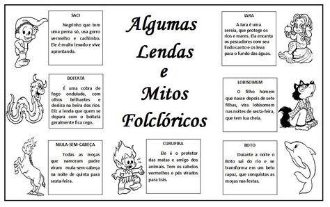 Folclore Lendas E Atividades Com Imagens Atividades De