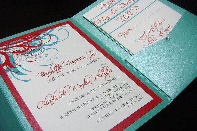 Aqua Tiffany Blue and Red Wedding Invitations – Tiffany Blue and Red Wedding Invitations