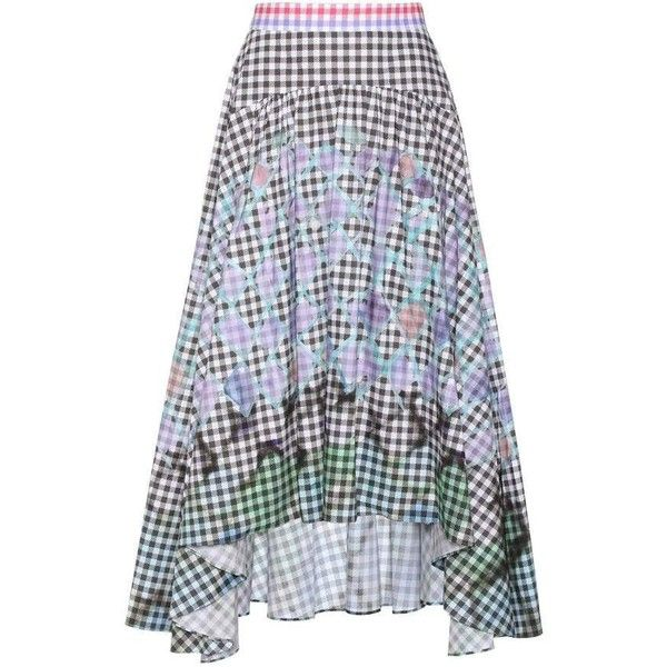 Peter Pilotto Gingham Cotton Skirt ($875) ❤ liked on Polyvore featuring skirts, multicoloured, cotton skirts, knee length skirts, cotton knee length skirt, multi colored skirt and colorful skirts