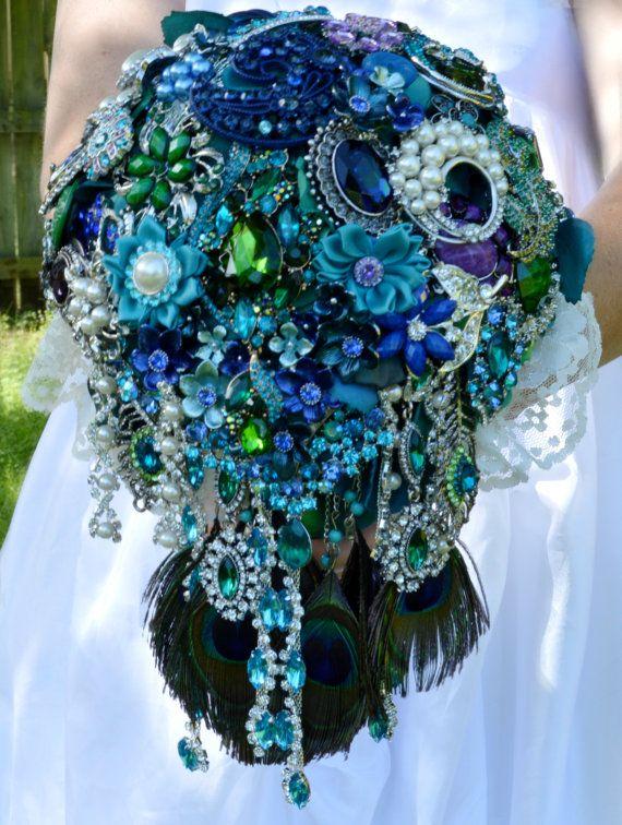Pea Cascading Bridal Brooch Bouquet By Secretgardenbouquets