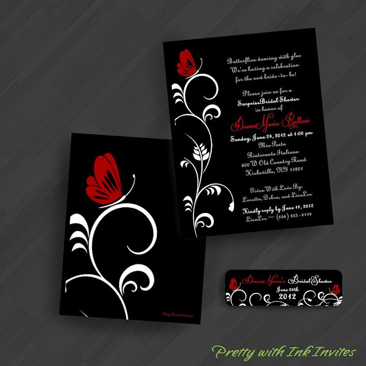 Wedding or Special Event Invitations - Sweet Butterfly - Red and ...