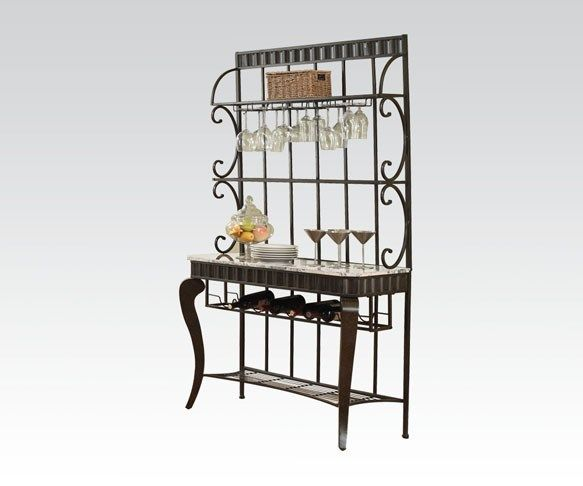 Lorencia Casual White Black Gold Marble Metal Bakers Rack Acme