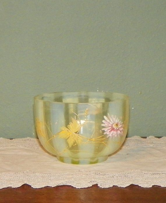 Antique Elegant BOWL VASE Striped vaseline opalescent opal art glass rose  bowl enamel flowers pink e725f8e4fcd4b