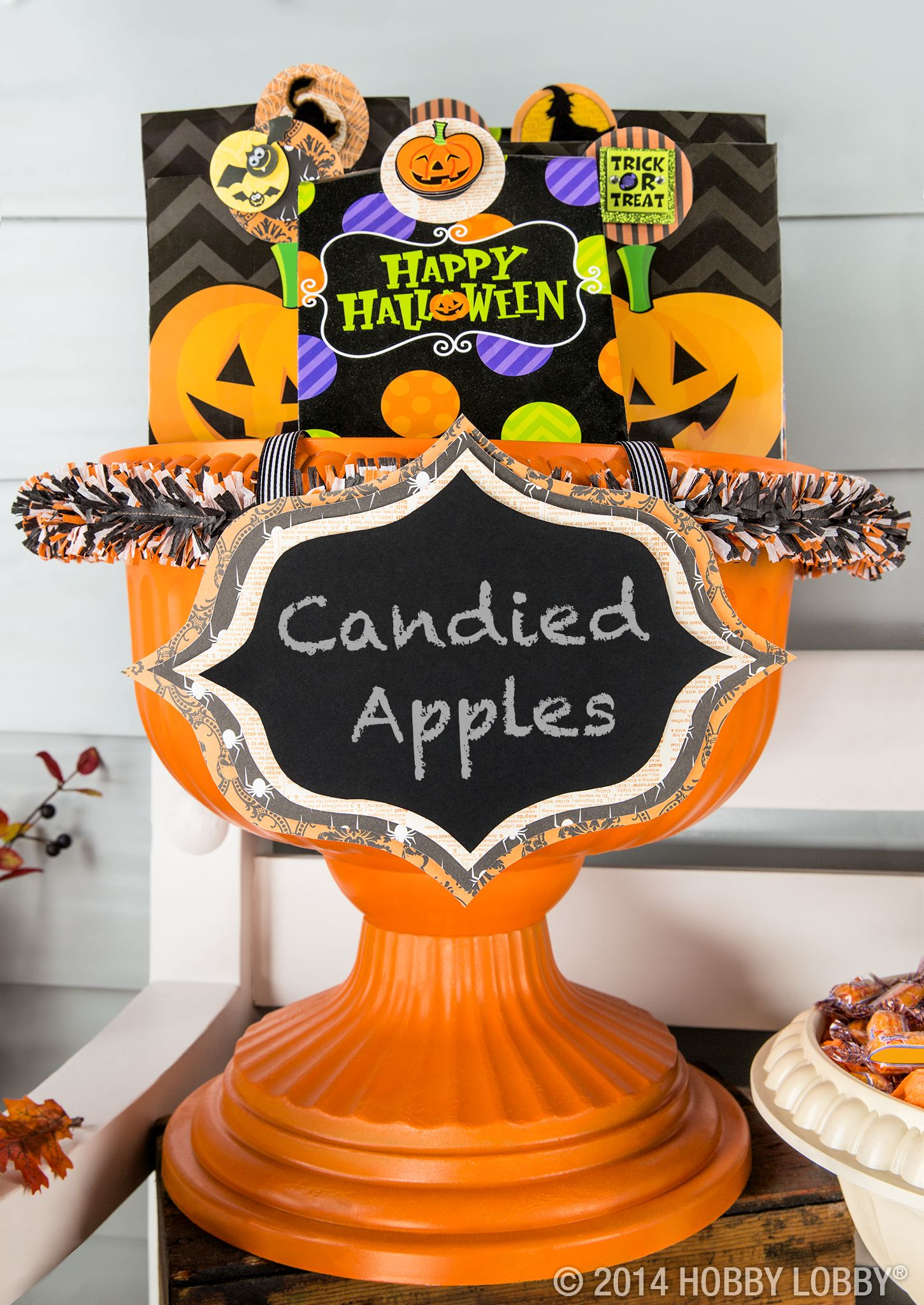 Add a few special touches to outdoor containers, like chalkboard - Hobby Lobby Halloween Decorations