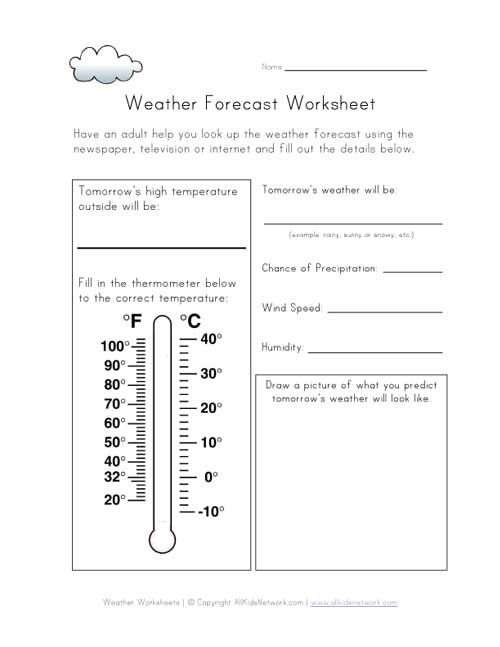 weather forecast worksheet Daily activities – Weather Forecast Worksheet