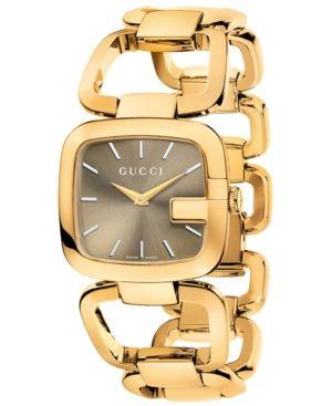 199aa6f9b Gucci Women's Swiss G-Gucci Gold-Tone Pvd Stainless Steel Bracelet Watch  32x30mm YA125408