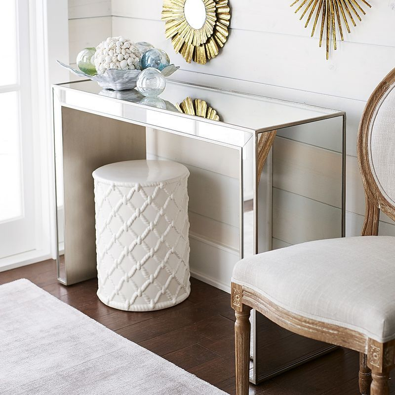 Silver Studded Coffee Table: Alexa Mirrored Console Table