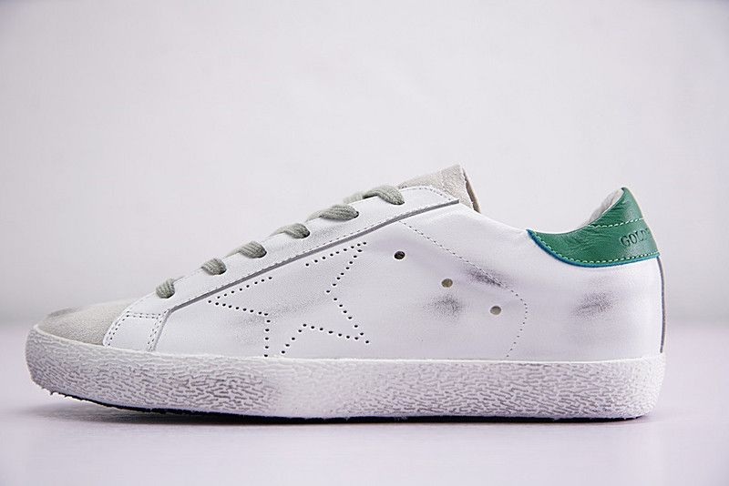 release date: 3c6dd 0de10 Unisex 2018 New Deluxe Brand GGDB Golden Goose Uomo Donna Superstar  Sneakers White Green Grey G26D121 A3