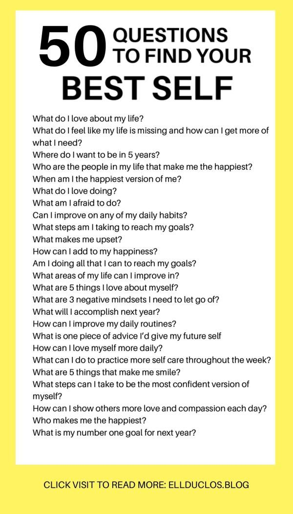 50 Questions to Answer to Find Your Best Self - Personal Growth
