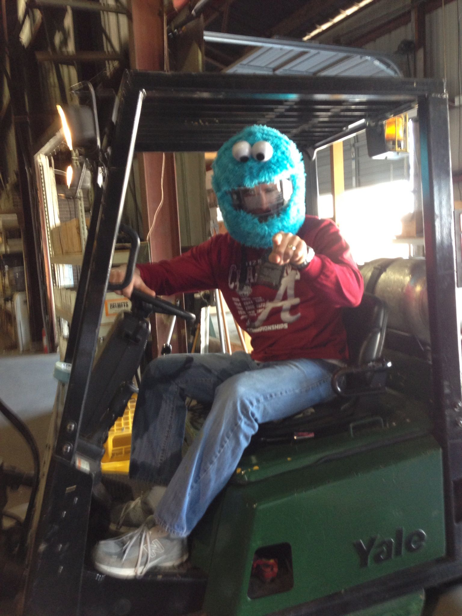 Cookie Monster Motorcycle Helmet Cover On Our Forklift