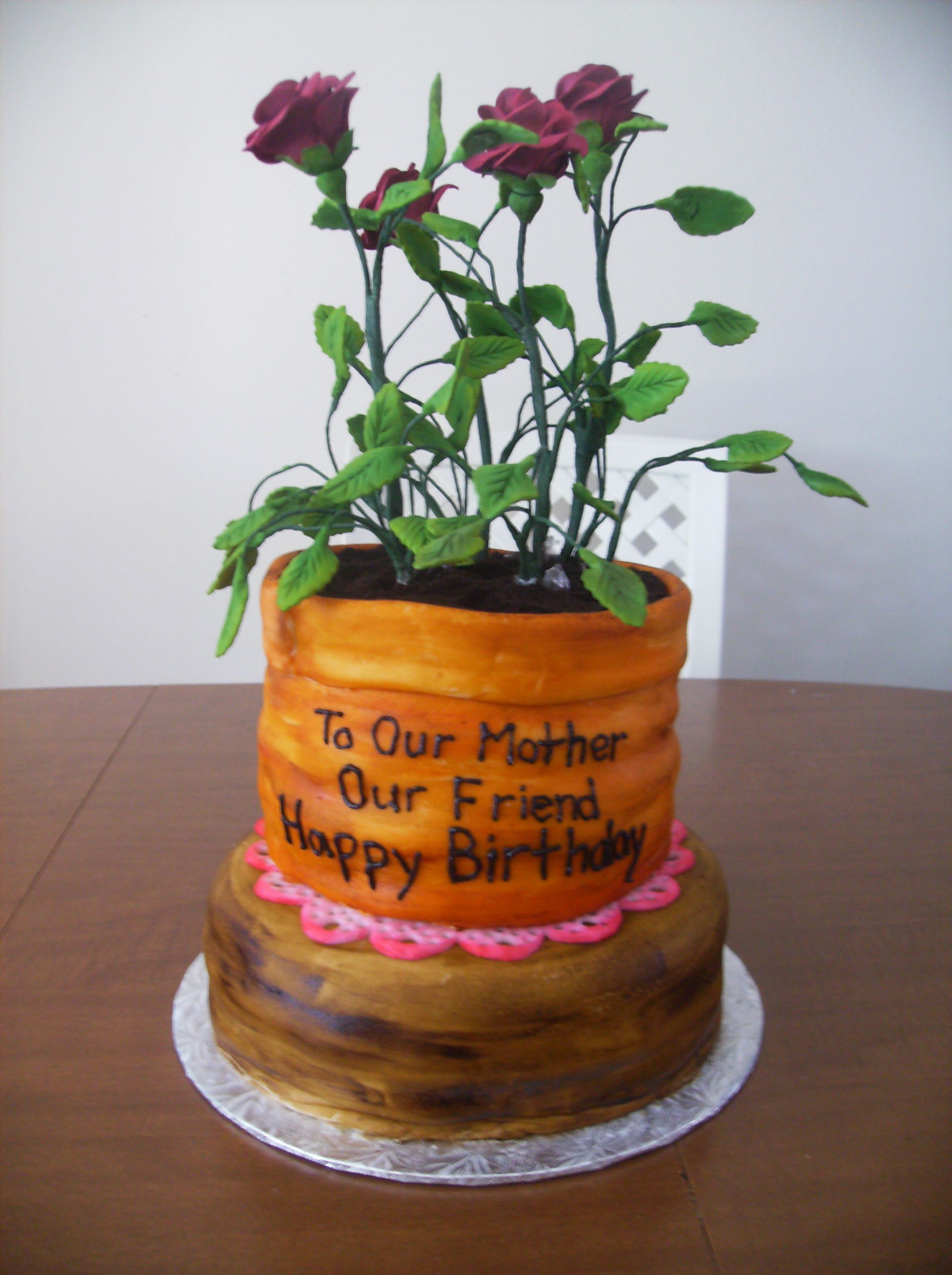 2 Tier Flower Pot Cake Flowers Made From Gumpast Cake Decorating Flower Pot Cake Cake
