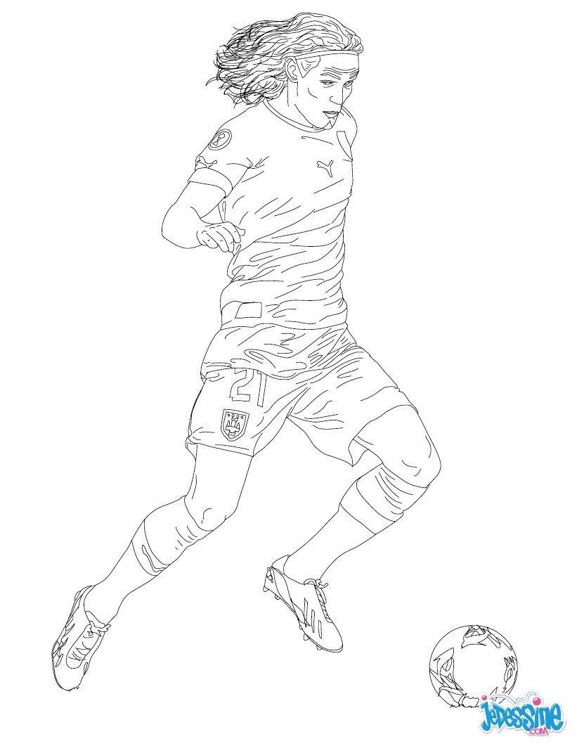 Coloriage du joueur de foot edinson cavani imprimer gratuitement ou colorier en ligne sur - Image de joueur de foot a imprimer ...