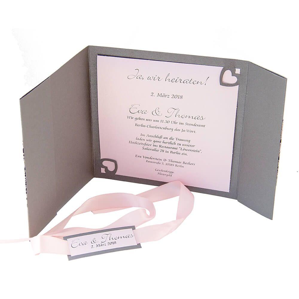 Hochzeitseinladung Naomi Grau Mit Rosa Spitze Weddix De