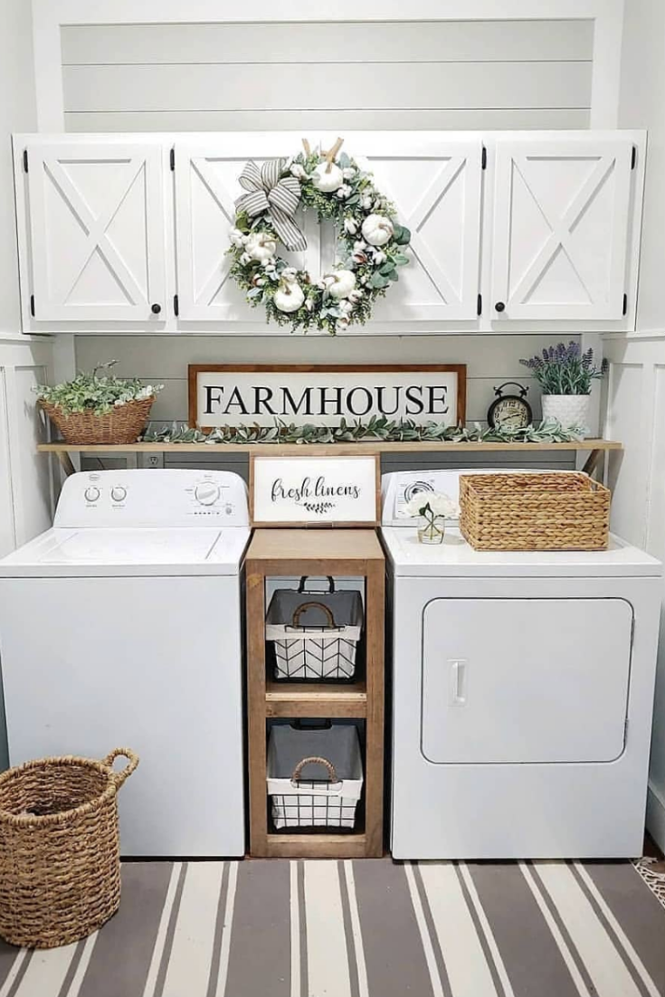 Admit it, farmhouse laundry room is usually the most messiest room at your home. But it can be opposite!  #Farmhouselaundryroom  #Farmhouse  #Laundryroom