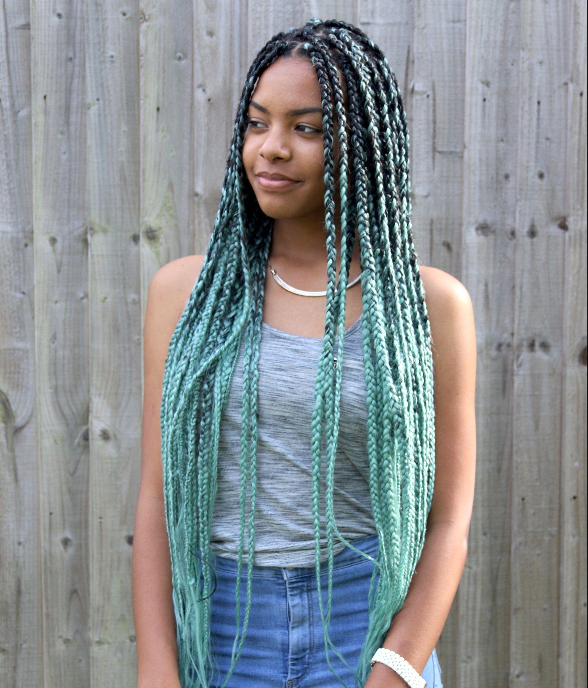 Mint Green Ombre Jumbo Braiding Hair Hair Hair Braids Box Braids