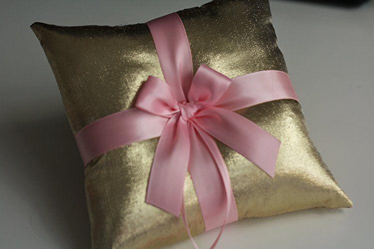 pink wedding rings gold ring bearer pillow