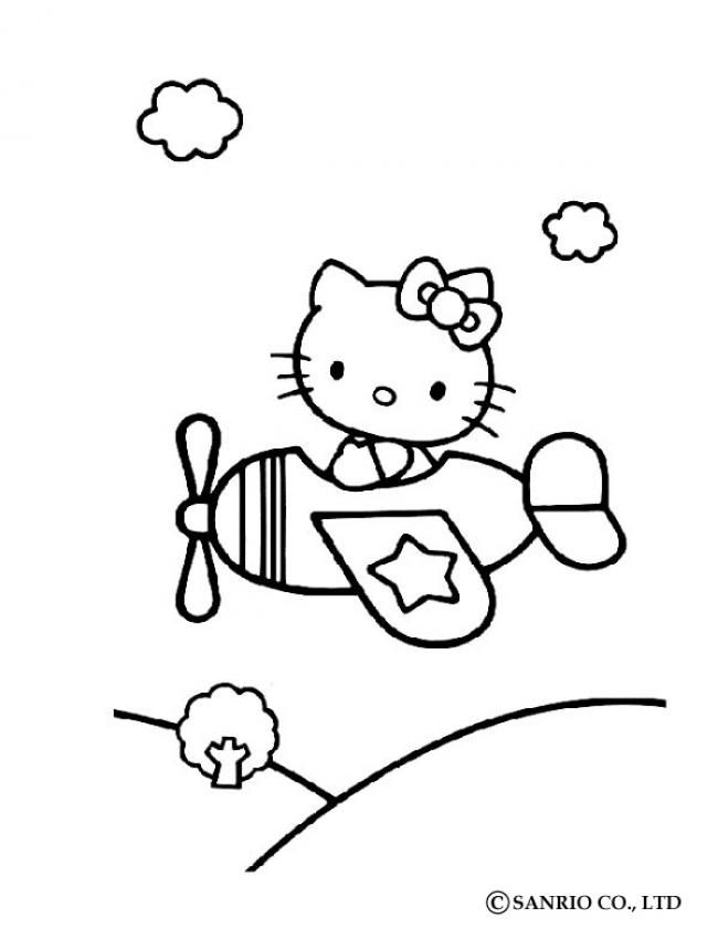 Hello Kitty In Airplane Coloring Page Hello Kitty Coloring Hello Kitty Colouring Pages Kitty Coloring
