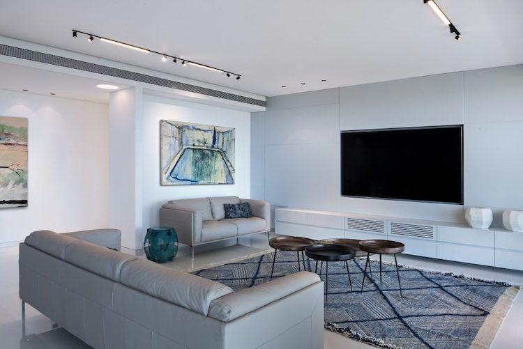 Idee Deco Salon Gris Canapes Gris Clair Meuble Tv Blanc