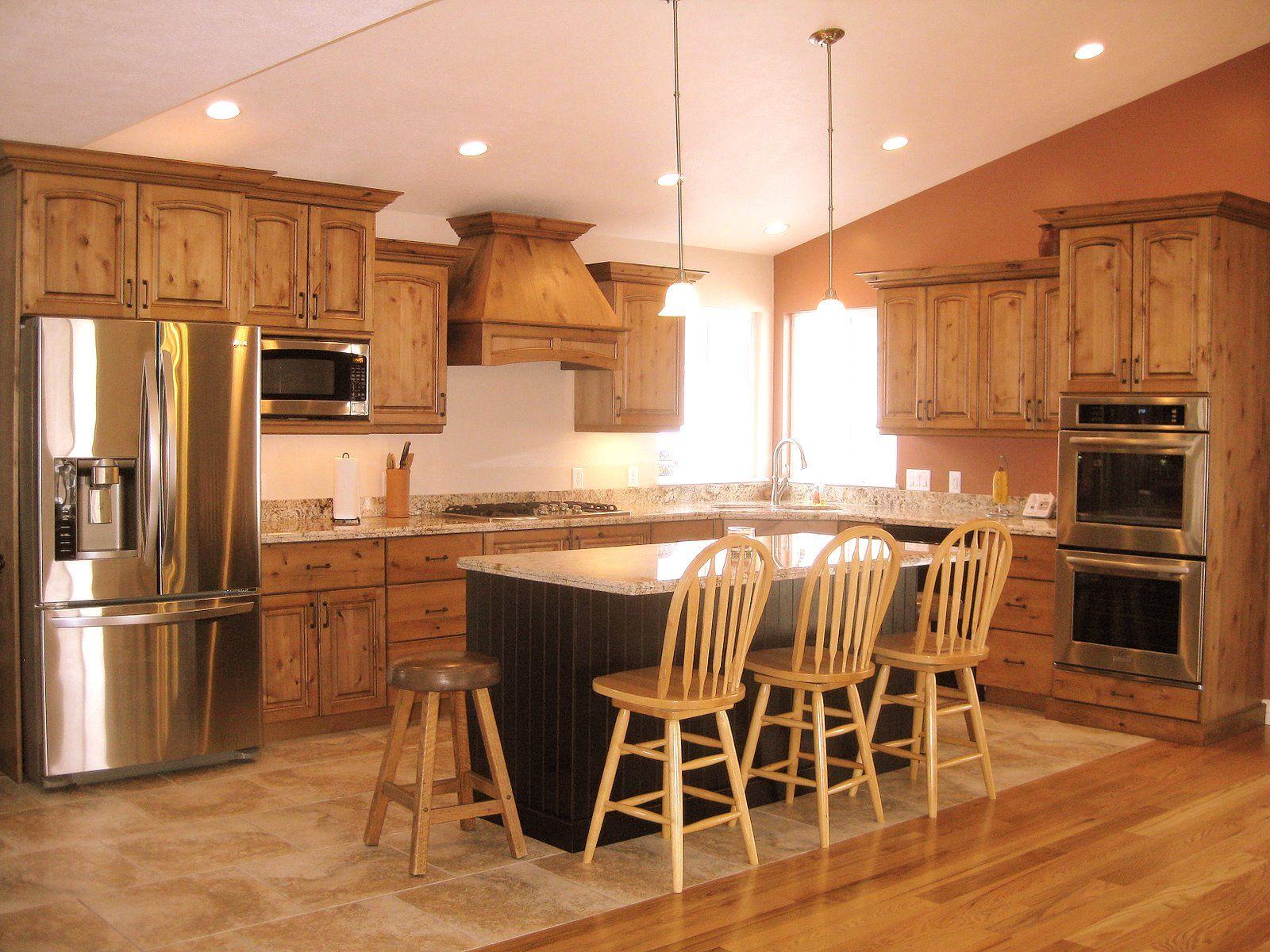kitchen knotty alder cabinets