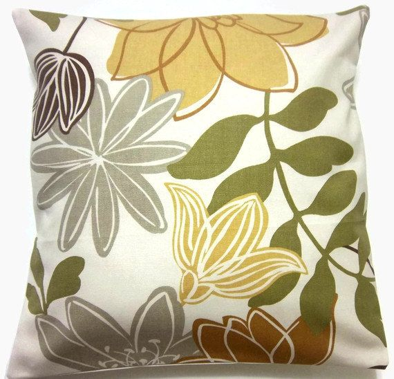 Two Yellow Gold Olive Green Brown Gray Pillow Covers Same Fabric